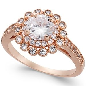 ✨Rose Gold-Tone Crystal Cubic Zirconia Halo Ring